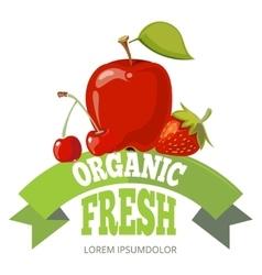 Organic fresh fruits logo label badge vector image vector image