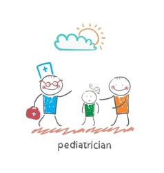 pediatrician takes dad with a sick child vector image