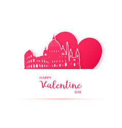 red heart and silhouette of rome city paper vector image vector image