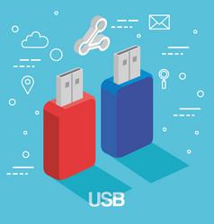 two usb memory sticks backup accessories vector image