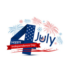 usa 4 july happy independence day design on white vector image vector image