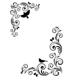 Vignette with birds vector image vector image