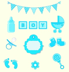 Baby boy set of design element for scrapbook and vector image vector image