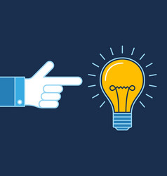 Hand pointing on lit bulb new idea business vector