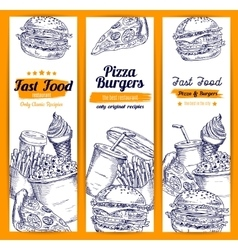 Pizza and burgers fast food sketch banners vector image vector image