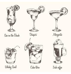 Set cocktail Margarita Whiskey drawn sketch vector image
