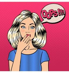 Surprised Woman Comic Style Pop Art Bubble Oops vector image