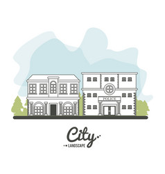 city landscape police building architecture town vector image
