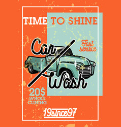 color vintage car wash banner vector image vector image