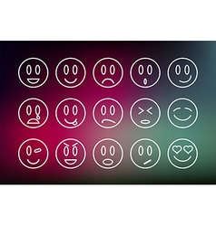Emoticons line set vector image