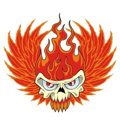 fire skull vector image vector image
