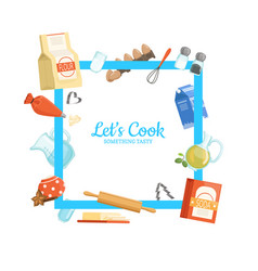 frame cooking ingridients or groceries vector image vector image