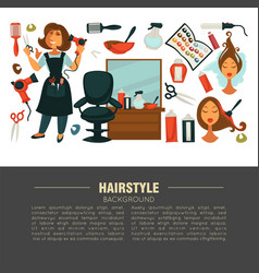 hairstyle advertisement banner with stylist and vector image