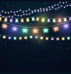 set of colorful glowing light garlands vector image