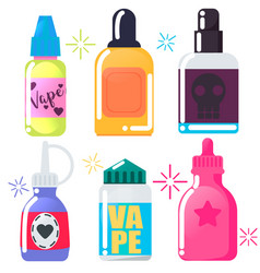 set of six bright vape juice vector image