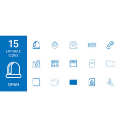 15 open icons vector