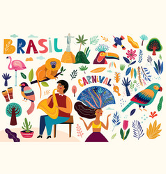 Amazing collection with brazilian symbols vector