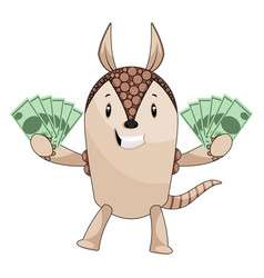 Armadillo holding money on white background vector