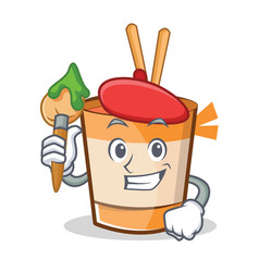 Artist cup noodles character cartoon vector