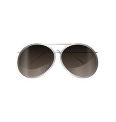 Aviator silver frame sunglasses mirror style vector