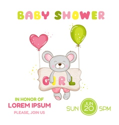 Baby Shower or Arrival Card - Baby Mouse Girl vector