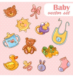 Baby toys cute cartoon set vector