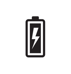 battery with lightning - black icon vector image