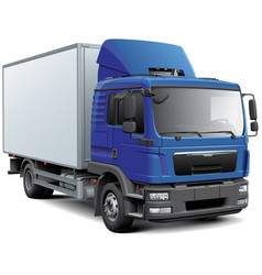 Box truck with blue cabine vector
