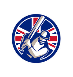 British cricket batsman batting union jack flag vector