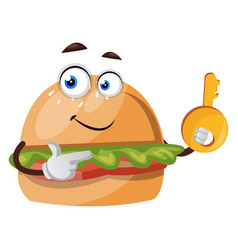 Burger with key on white background vector