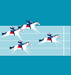 business race business people ride a horse vector image