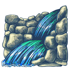 cascade waterfall in rocks vector image