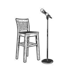 chair and microphone sketch vector image