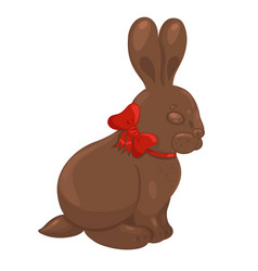 chocolate bunny with a bow isolate on a white vector image