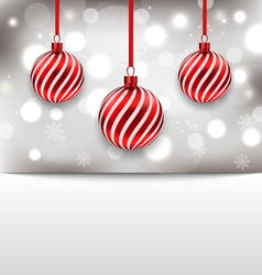 Christmas glossy card with red balls - vector