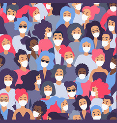 crowd people in medical protective face mask vector image