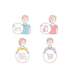Diagram contactless payment and discounts icons vector