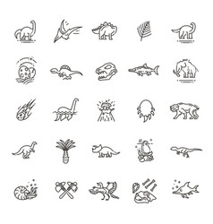 dinosaur icons dinosaur egg and volcano vector image