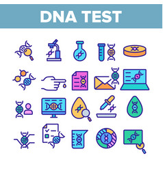 Dna test collection elements icons color set vector