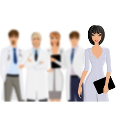 Doctor with medical staff vector