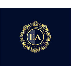 Ea initial letter gold calligraphic feminine vector
