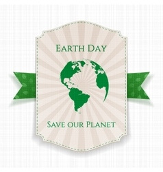 Earth Day striped Banner and festive green Ribbon vector