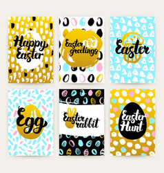Easter greetings trendy brochures vector