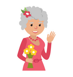 Elderly woman with flowers icon vector