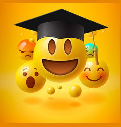emoticons in graduation hat educational resources vector image