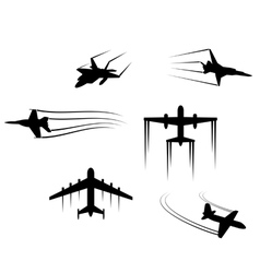 Fast flying planes and jets vector