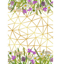 geometric gold background with greenery vector image