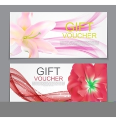 Gift Voucher Template Flower Natural Discount vector