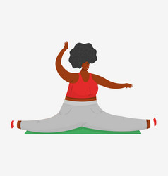 girl plus size twine in gym yoga mat vector image