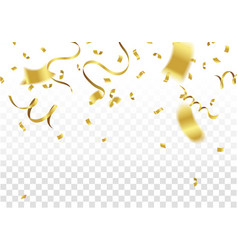 Golden party flags with confetti and ribbon vector